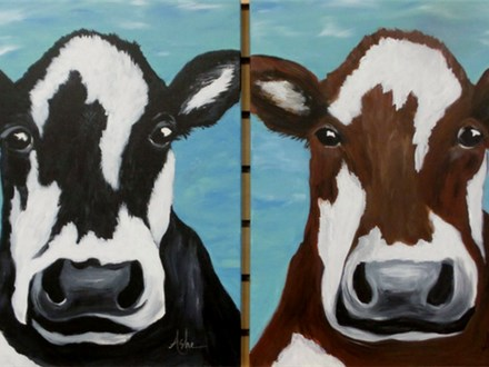Your Choice - Black or Brown Cow - 16x20 Canvas