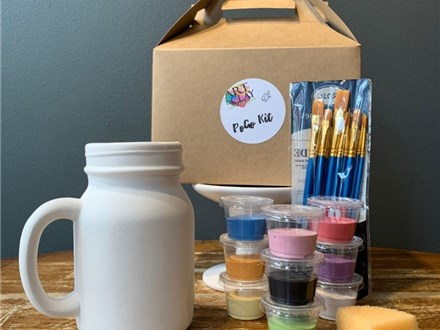 PoGo Kits: Paint Your Own Pottery ToGo: (Mason Jar Mugs)