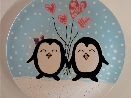 Kid's Drop Off Class - Penguin Love Plate