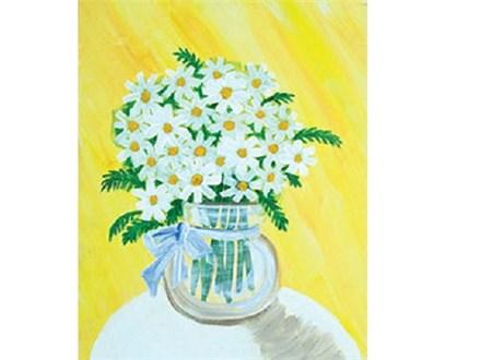 Canvas & Wine Night!  Shasta Daisies!  2/27/17