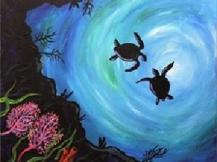Canvas & Wine Night! Sea Turtles! 3/29/19