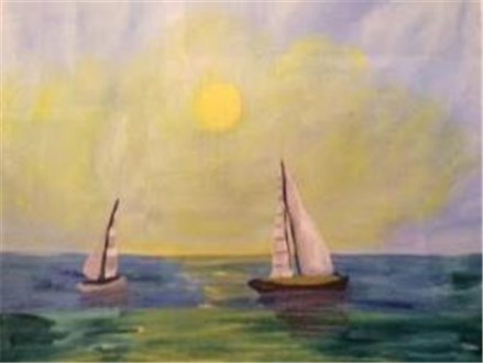 Canvas & Wine Night!  Day at Sea!  8/22/16