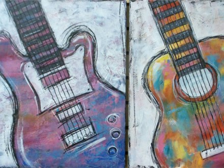 Electric or Acoustic Guitar Choice Colors (16x20 canvas)