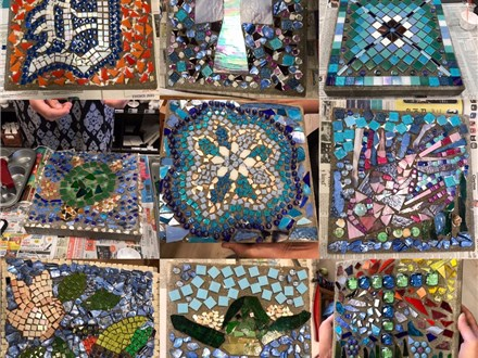 "12"" Concrete pavers turned into beautiful mosaic masterpieces."