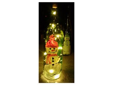 Lighted Snowman Wine Bottles - Christmas Creations - Dec 13
