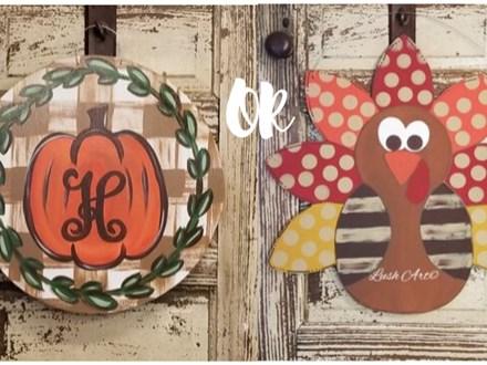 Fall Initial OR Turkey Door Hanger