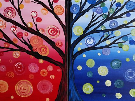 Date Night Twin Trees Canvas Painting