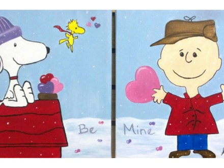 Be My Valentine - one canvas per person - add any message in the snow.