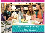 Silk Screen painting on Clay Canvas Ladies Night Out! BYOB