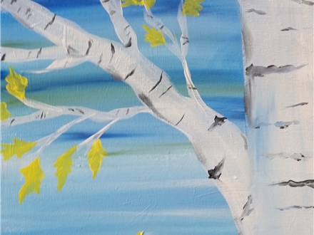 Adult Birch Trees Painting Class
