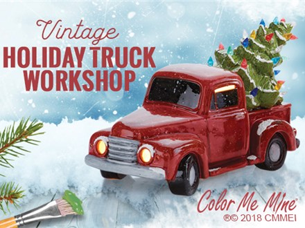 Vintage Truck with Christmas Tree with Workshop! Friday, Nov 15th @ 7:00pm