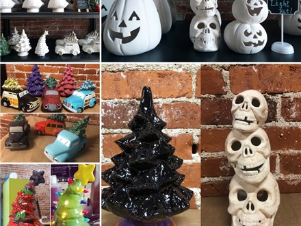 Trees, Pumpkins and other Fun Pottery with Lights!