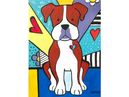 """Pet Portrait POP Art - """"Boxer""""- must specify your pet breed and color. Canvas size 12x16"""