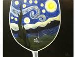 Starry Night Wine Glass - 16x20 canvas