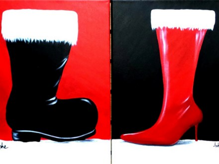 Holiday Boots - Couples and Singles - 1 canvas per person $25 / Paint both designs $50.