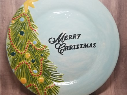 Merry Christmas Tree Platter (12 inches) - Ready to Paint