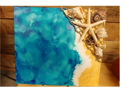 Adult Canvas - Alcohol Ink - Beach -7-13