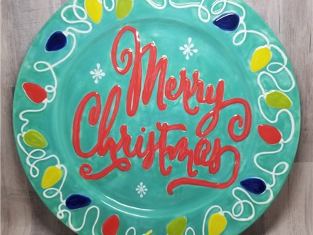Christmas Lights Serving Platter (12 inches) - Ready to Paint