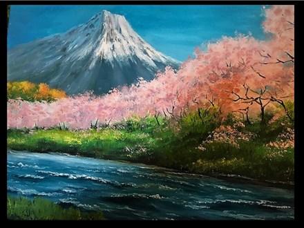 """04/15 GA-OIL: """"Mt. Fuji with Cherry Trees""""  6:30pm-9:30pm $45"""