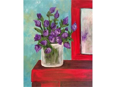 Purple Flowers Red Dresser - 2.5 hrs.