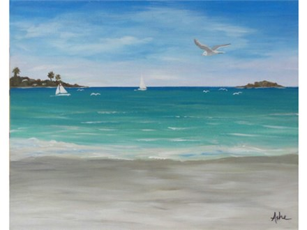 Island Life / Salt Life - add any message in the sand. 16x20 canvas
