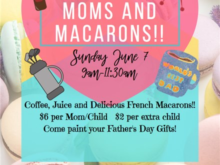 Moms and Macarons Pottery Painting for Fathers Day!!