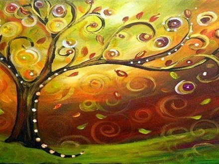 """Fall Whimsical Tree"" Canvas and Cocktails"