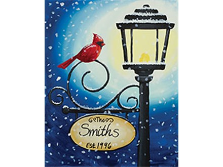 Cardinal Lamppost Canvas Painting Class at CozyMelts