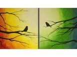 Colorful Love Birds - Couples Version - Warm and Cool Colors -1- 16x20 canvas per person