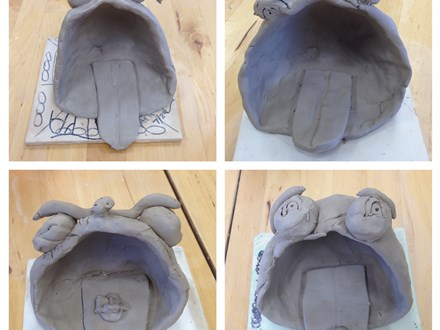 Big Mouth Frog Sculptures $9 per child minimum 15 participants for a wet clay experience.