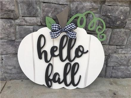 Oct. 21st Hello Fall Pumpkin Door Hanger