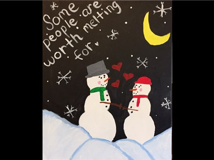 "Canvas Night, ""A Winter's Love,"" Saturday, February 13th 7-10pm"