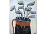 Golf Clubs - 16x20 canvas