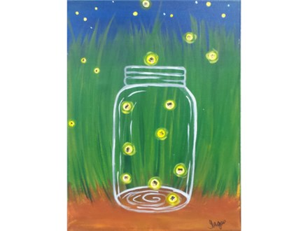 Fireflies - canvas size 12x16 *ages 8+