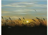 Sea Oats at Sunset - 16x20 canvas