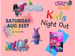 Ticket for Crazy Glaze Studio's Kids Night Out Aug 31st