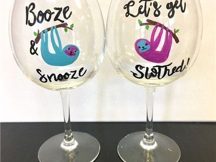 Wine Glass Painting - Sloths - 02.03.18