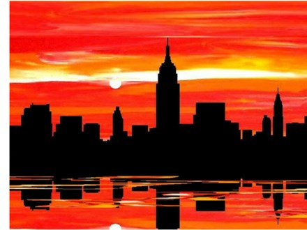 COLOR ME WINE - REFLECTION OF THE CITY CANVAS PAINTING TUESDAY, JUNE 5