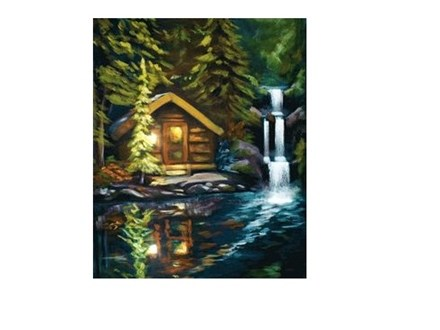 Cabin By A Lake - Canvas - Paint and Sip