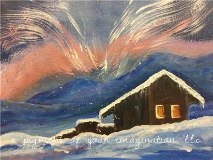Aurora Borealis Winter Cabin Canvas Event
