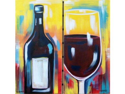 Paint your choice Wine Bottle or Glass. Stencil provided.