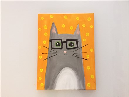 Hipster Kitty (Kids ages 6+) Canvas Class