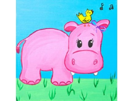 Summer Kids' Canvas Class! Happy Hippo! 7/30/18