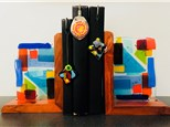 Beautiful wooden set of bookends come with your choice of free bookmark to match!