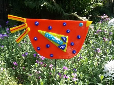 Garden Fused Glass Bird Stake- Orange