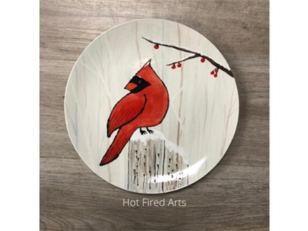 Pottery Painting: Cardinal Plate