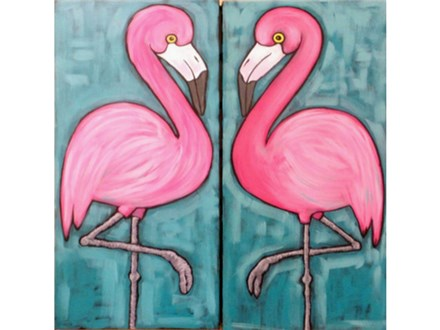 Flamingo's - couples or singles version - one canvas per person