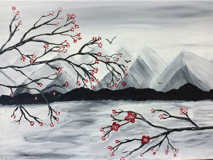 Cherry Blossoms and Mountains Munch and Paint