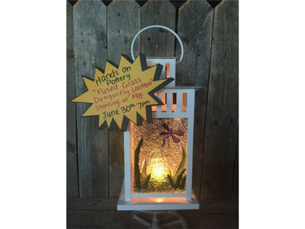 You Had Me at Merlot - Fused Glass Dragonfly Lantern - June 30th