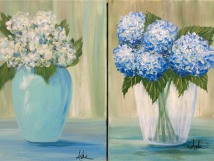 Hydrangea's - Choose White or Blue (12x16 canvas)